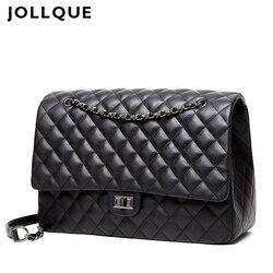 Jollque Stepp frauen Kupplung Handtaschen Leder Reisetasche Weiblichen Große Schulter Tasche Luxus Big Bags Designer Sac EIN Haupt schwarz