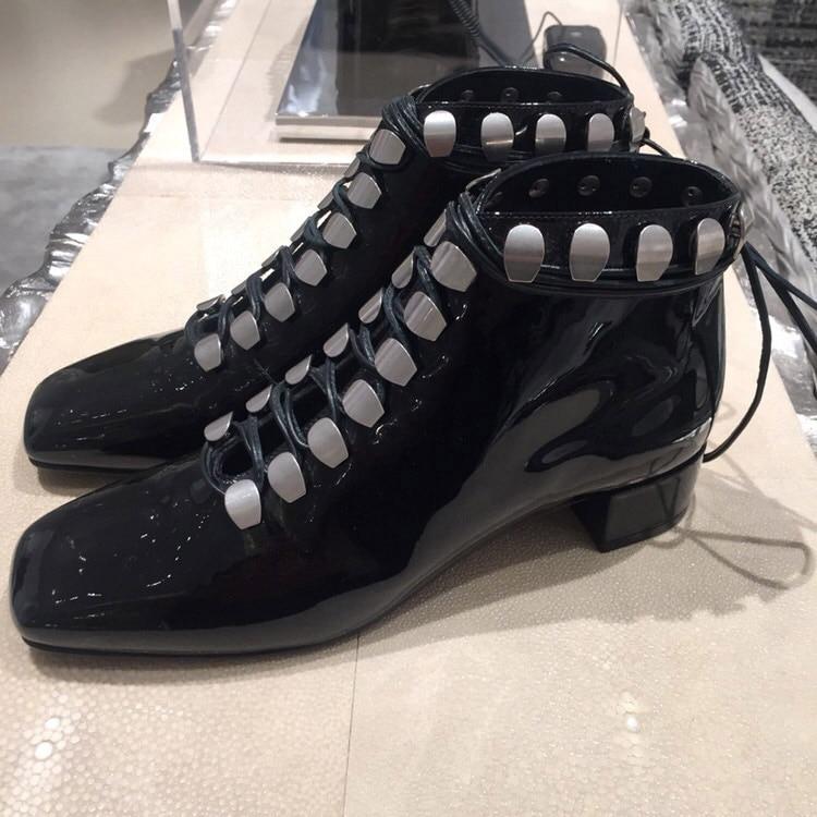 Combat Talons Show Noir Chunky Chelsea Femmes Chaussures 2019 Cheville Bottines Bottes Srtappy Zapatos Mujer As Cloutés Lacets Nouveau À UqCSFnP