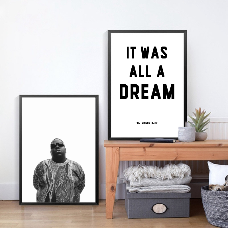 Biggie Smalls Rap Lyrics Canvas Art Print Wall Poster, The Notorious BIG Art Decor Canvas Painting Wall Picture Home Decoration