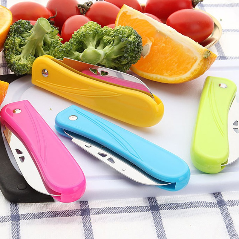 Pocket Pare Peel Kitchen Fruit Fold Knife Cutlery Cutter Peeler Picnic Lunch Bag Box Slice Keychain Camp Vegetable Cut