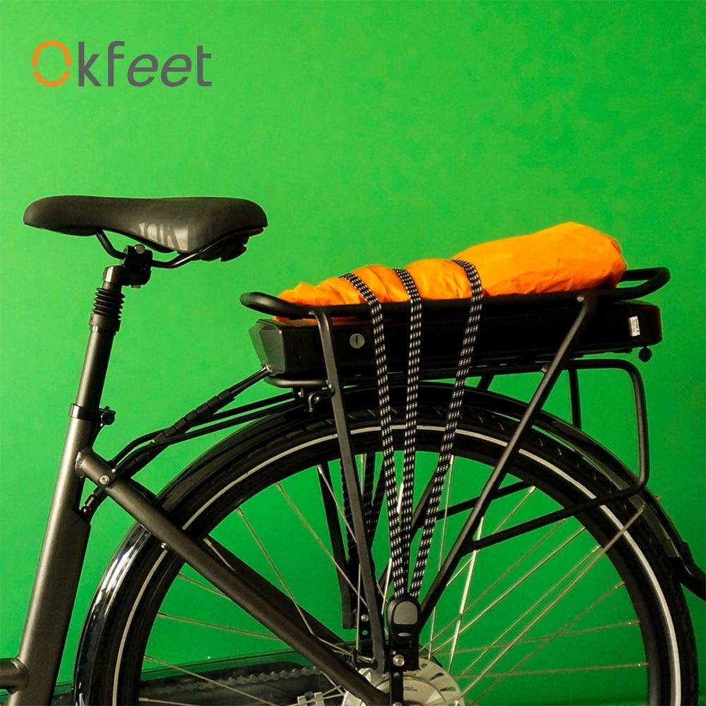 Okfeet Rear Seat Luggage Bicycle Strap Stretch Elastic Tension Bike Rope With 2 Hooks Bandage Straps Belt Box Packing Rope 70cm
