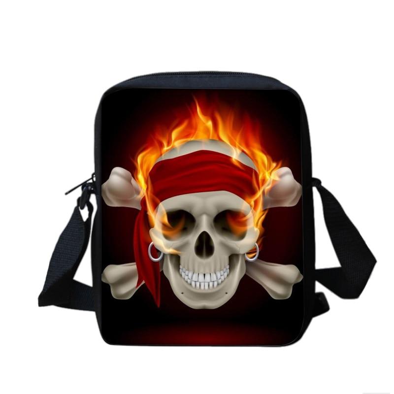 Trendy Skull Messenger Purse Boys Mens Shoulder Sling Bag Cross Body Handbag