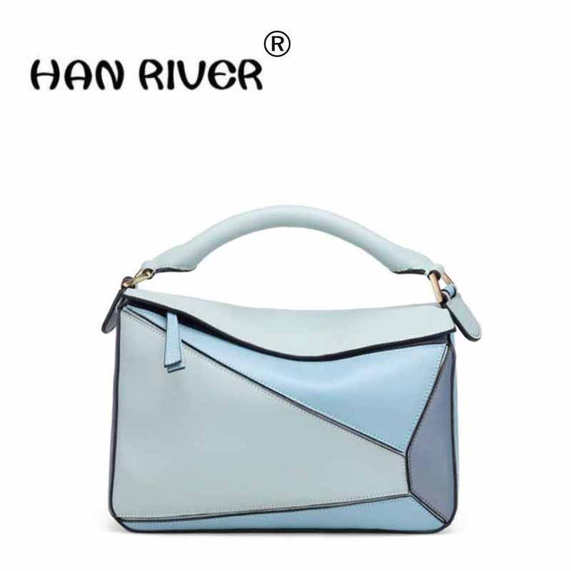 The new leather bump color geometric splitting-leather bag of leather bag of the hand bill of bill of the shoulder bag qiaobao 2018 new korean version of the first layer of women s leather packet messenger bag female shoulder diagonal cross bag