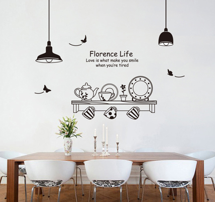 Wall Stickers Kitchen Bar Home Restaurant Dining Room Decor 100*130cm Wall  Decals ... Part 48