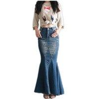 Envío Gratis 2017 Nueva Moda Estilo de Cola de Pescado de La Sirena de Mezclilla Faldas para Mujer pantalones de Mezclilla Tramo S-XL Largo Maxi Faldas de La Cadera Delgada