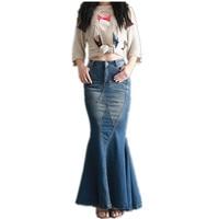 Trasporto Libero 2017 New Fashion Coda di Pesce Denim Stile Sirena Gonne per Le Donne Denim Jeans Stretch S-XL Lungo Maxi Gonne Slim Hip