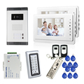 "FREE SHIPPING New 7"" LCD Video Intercom Apartment Door Phone System 2 White Monitors 1 Outdoor Camera for 2 Family + RFID Access"