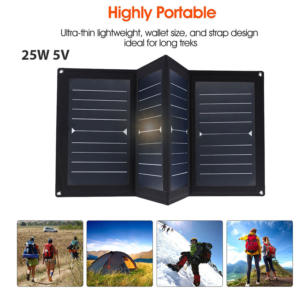 все цены на Amzdeal Portable 25W 5V USB Output Solar Panel Folding Solar Pane Waterproof Outdoor Phone Charging Emergency Power Supply