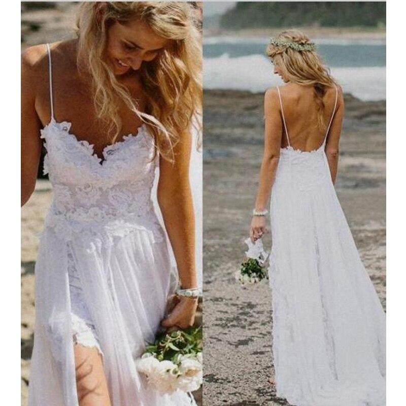 fe77d919e8 2017 Spaghetti Straps Beach Boho Wedding Dress Bohemian Lace Bodice High Low  Backless High Split Sweetheart Bridal Gowns Dresses