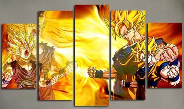 Aliexpress.com : Buy 5 Piece Wall Art Canvas Prints Anime Posters ...