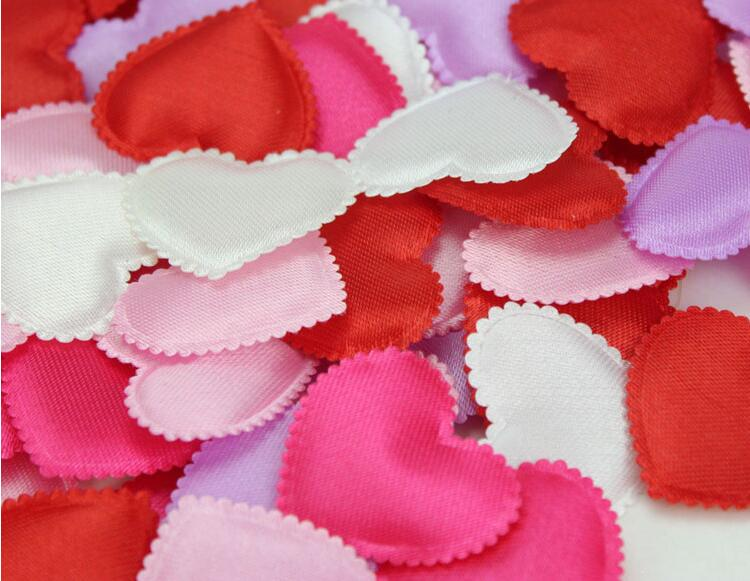 Set of 1000pcs Fabric Felt Assorted Heart Shape Appliques with Sponge Padded 35mm Petals Garment Patches wedding favor FZ0013