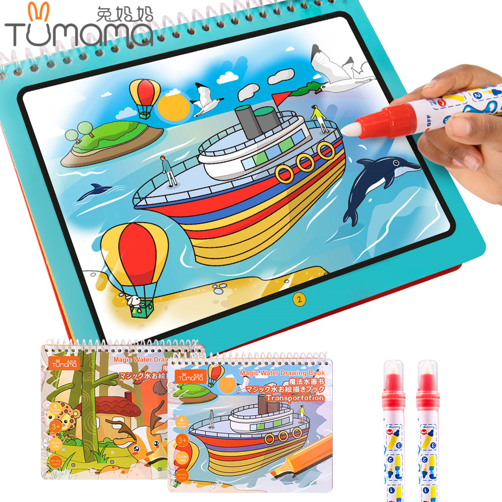 Tumama Magic Water Drawing Book Animal Marine Life Letter Number Coloring Book Doodle Magic Pen Drawing Board Kids Painting Toys minions the doodle book