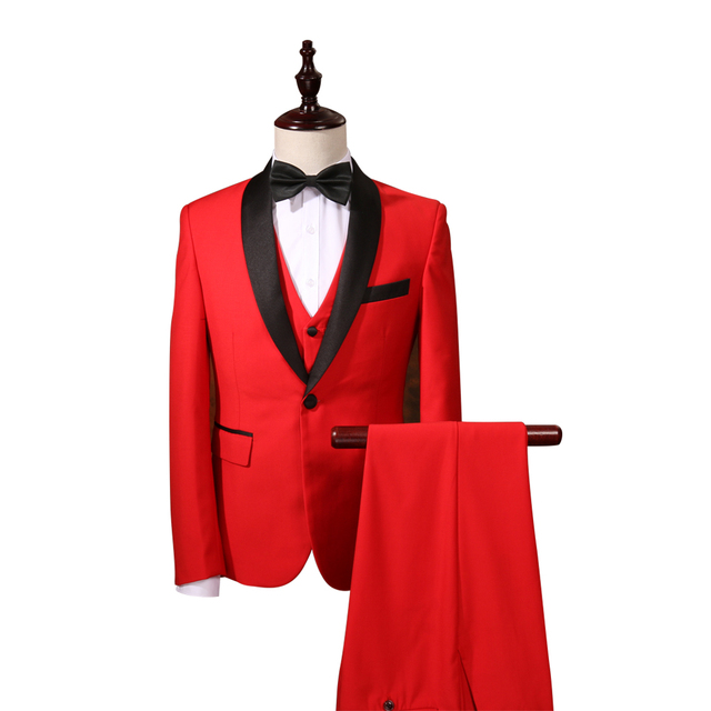 2017 Red Men Wedding Suits Men Suits Tuxedos Custom Fit Groom Suits Sets Latest Coat Pant Designs(Jacket+Pants+vest)