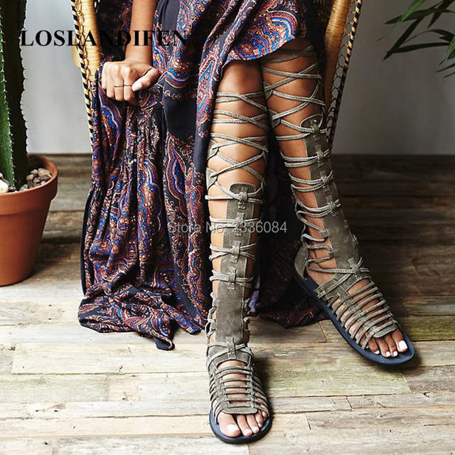 45c40fcb7ff placeholder 2018 Boho Style Women s Back Zipper Open Toe Knee High Tall Lace  Up Cut Out Roman
