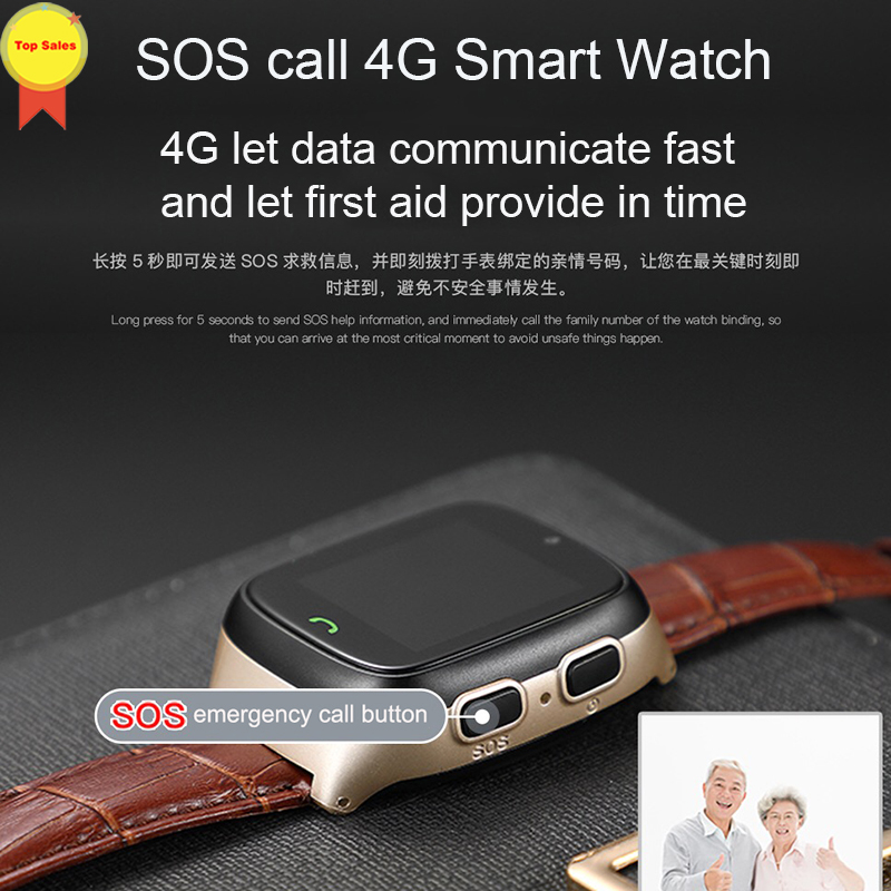 New HD touch screen Elder Smart watch old man Heart Rate bp Watch GPS Track Watch Voice chat SOS Fall down Alarm remote monitor