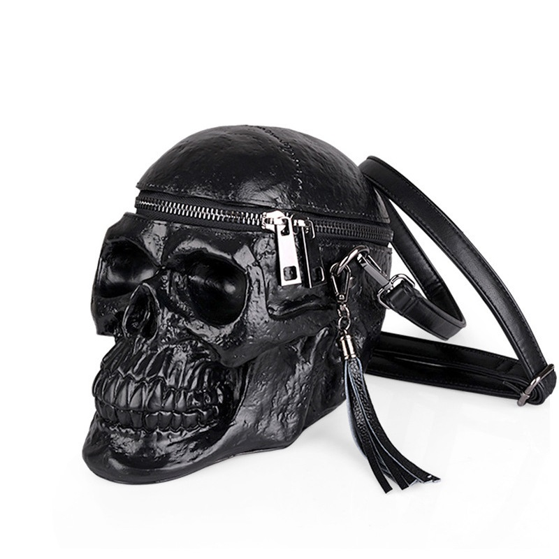 Gothic Skull Bag Rock Crossbody Women Messenger Bag Leather PU Retro Handbag Black Nightclub Tassel Lady Shoulder Package halloween skull printing women crossbody shoulder bag pu leather skull design women messenger bags handbag and purses