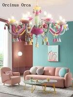 Американская креативная цветная люстра Хрустальная с Подсвечниками Девушка Спальня принцесса комната Светильник для детской комнаты ламп