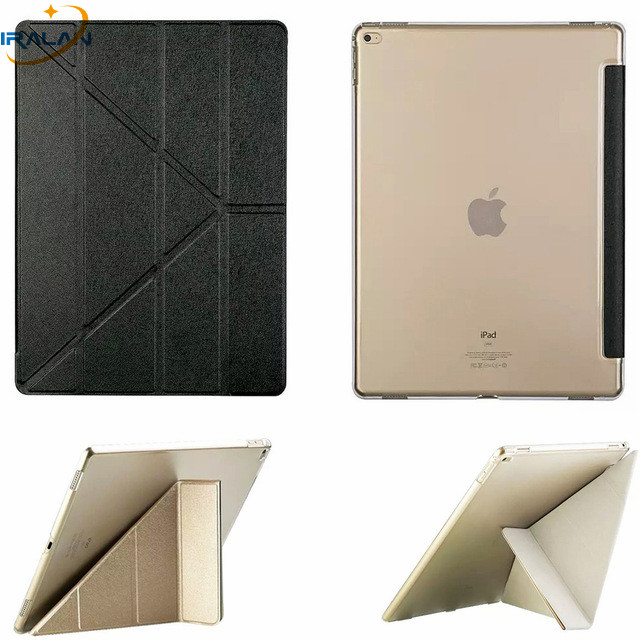 2018 Hot Ultra Slim Smart PU Leather Plastic Clear Case For apple iPad Pro 9.7 inch Tablet silk Transformers Cover +stylus+film