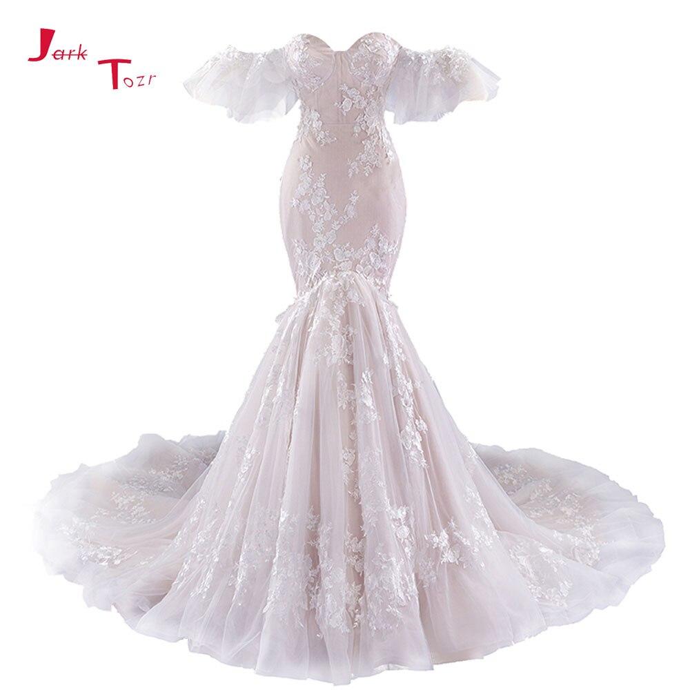 Jark Tozr 2019 New Arrive Off The Shoulder Short Sleeve Lace Up Appliques Vintage Mermaid Wedding