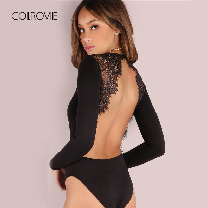 COLROVIE Backless Spitze Patchwork Body Schwarz Sexy Dünne Frauen Club Sommer Bodys Langarm Dünne Heiße Party Body