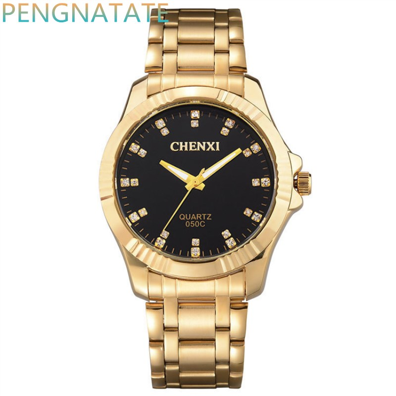 CHENXI Clock Gold Fashion Men Watch Full gold Stainless Steel Quartz Watches Wrist Watch Wholesale Gold