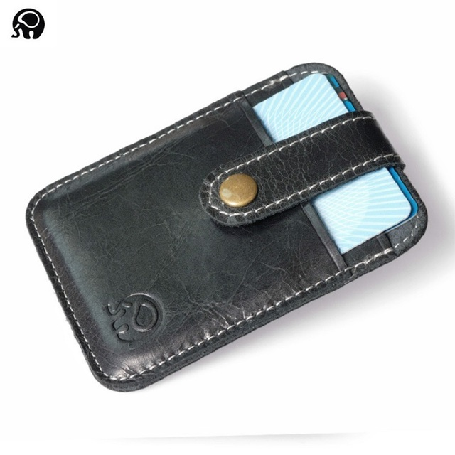 wholesale 100 real leather credit card holder thin card case mini wallet men cash cards - Leather Credit Card Holder