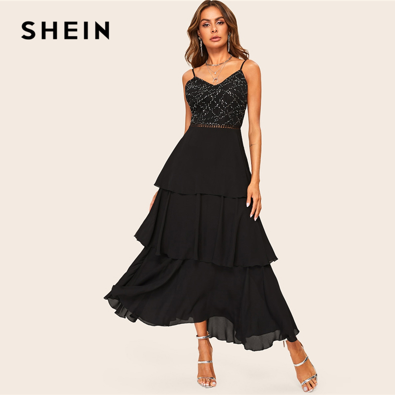308db870e5a2 SHEIN Glamorous Black Layered Ruffle Rhinestone Cami Maxi Dress 2019 Spring  A Line Sleeveless High Waist