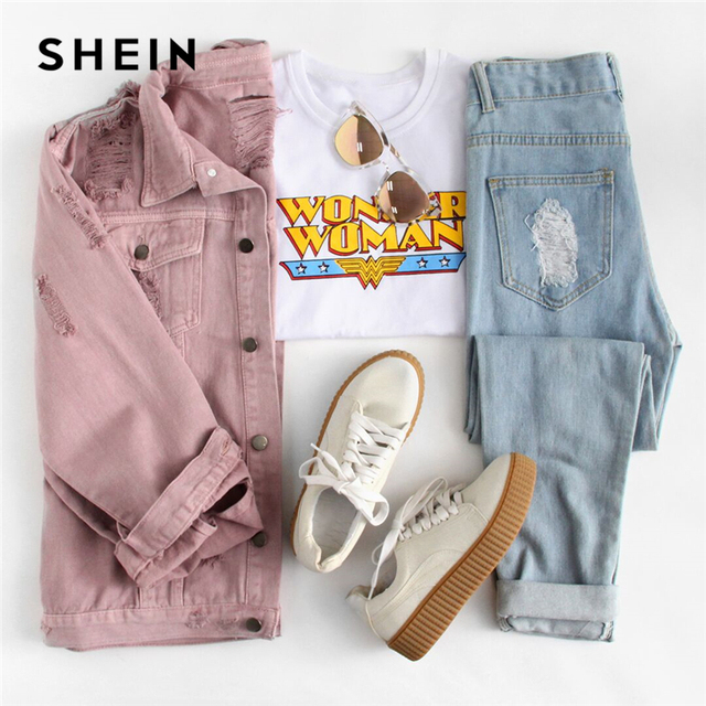 SHEIN Rips Detail Boyfriend Denim Jacket Autumn Womens Jackets and Coats Pink Lapel Single Breasted Casual Fall Jacket 10