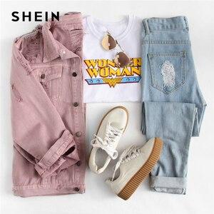 Image 5 - SHEIN Rips Detail chaqueta de mezclilla para novio, chaquetas y abrigos de otoño para mujer, chaqueta de otoño informal con solapa rosa y una botonadura