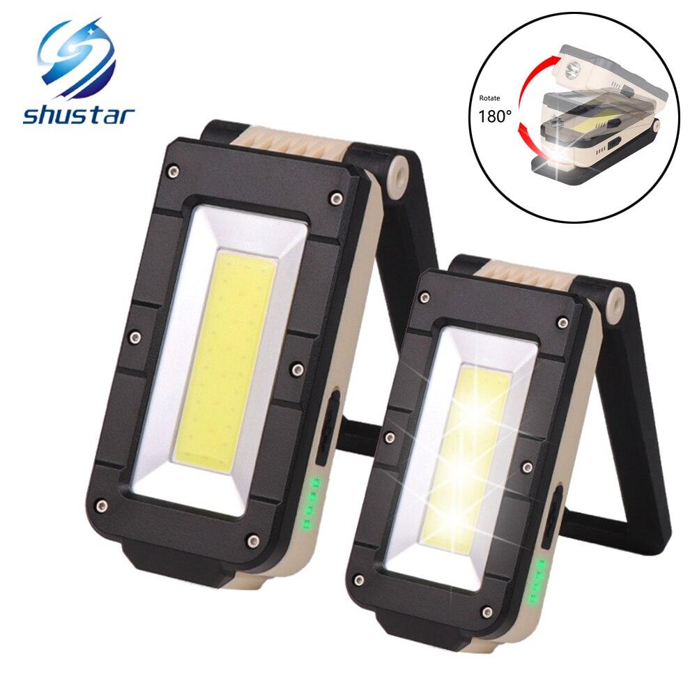 USB Recarregável COB luz de Trabalho Portátil LEVOU Lanterna de 180 graus ajuste com Fundo magnético Adequado para camping