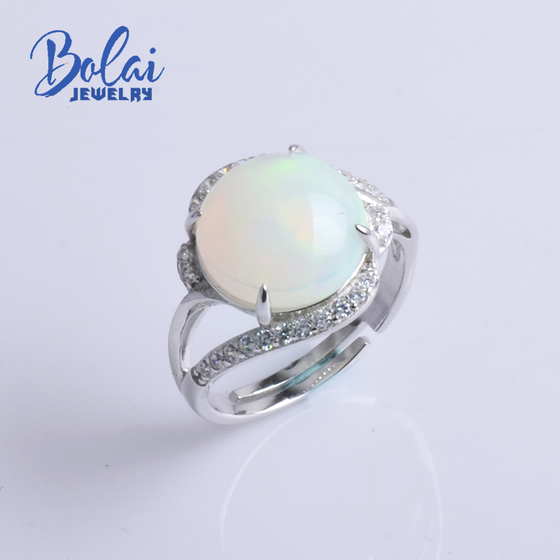 Bolaijewelry,new 2018 Natural Opal gemstone luxury adjustable Ring 925 sterling silver fine jewelry for women engagement giftBolaijewelry,new 2018 Natural Opal gemstone luxury adjustable Ring 925 sterling silver fine jewelry for women engagement gift