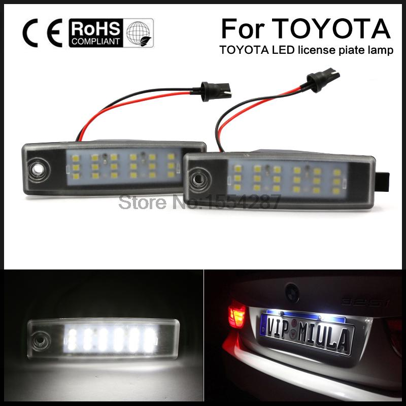 2pcs car styling Bright Led License Number Plate Light for Toyota HiAce 200 05-11 Rav4 Vanguard ACA33W st car dashboard heat light insulation polyester pad for toyota rav4 black
