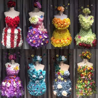 T show halloween flower skirt suit beauty pageant cosplay women adult sexy fairy dress