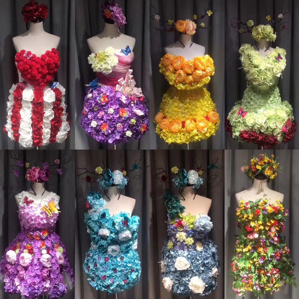 T show halloween flower skirt suit beauty pageant cosplay women adult sexy fairy dress