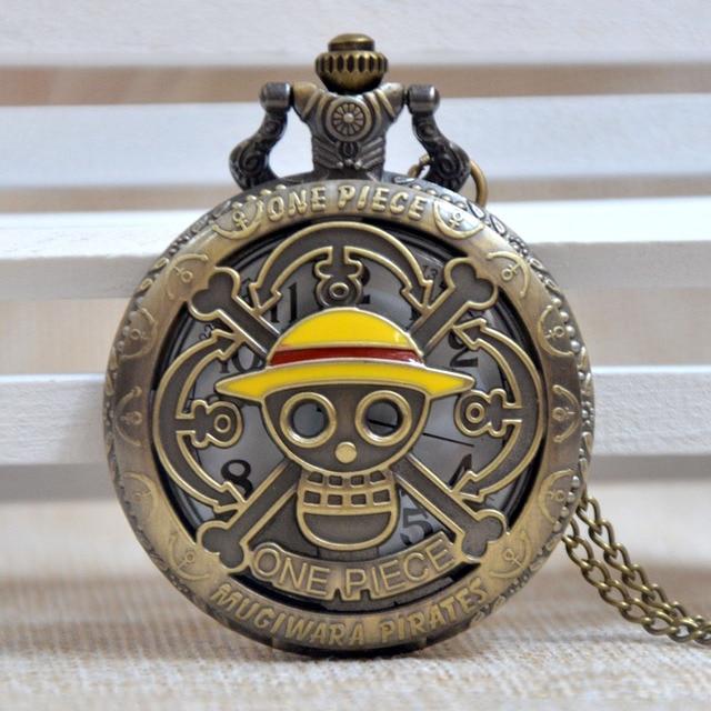 Fashion One Piece Skull Pirate Yellow Hat Bronze Quartz Pocket Watch Analog Pend