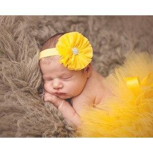 Тюлевая юбка-пачка принцессы с повязкой на голову с цветами для новорожденных, реквизит для фотосессии, юбка-пачка для маленьких девочек