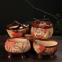 wholesale Retro small Ceramic floral garden pot Planter Cute Hand painted Succulent Plants Flower Pot Mini Ornaments decorative