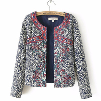 2016 New European And American Style Retro Print Blue And White Round Neck Fuii Sleeve Jacket
