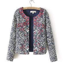 2019 spring autumn Retro Print Blue White Round Neck Full Sleeve Jacket Female Embroidered Coat For