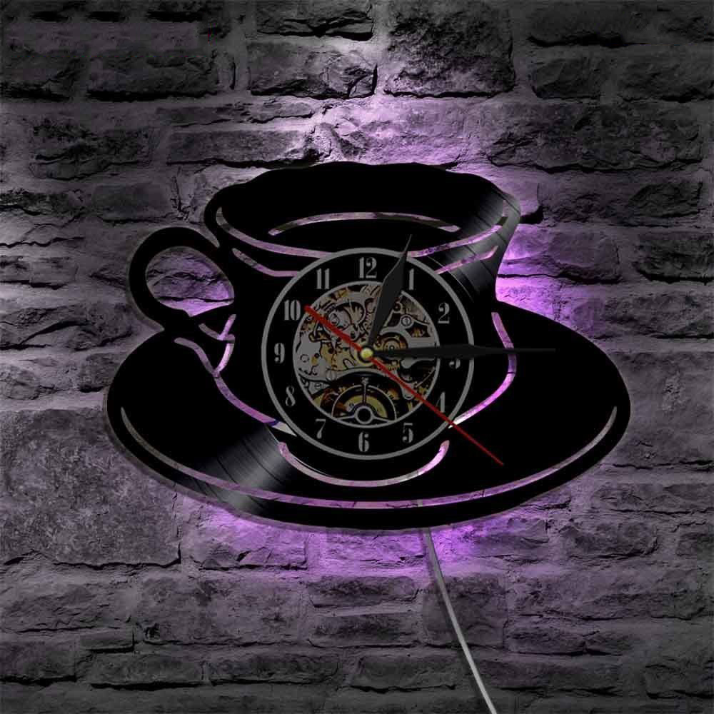 LED Wall Clock Modern Design Decorative Kitchen Clocks With 7 Color Change  Coffee Time Vinyl Record Wall Watch Home Decor Silent