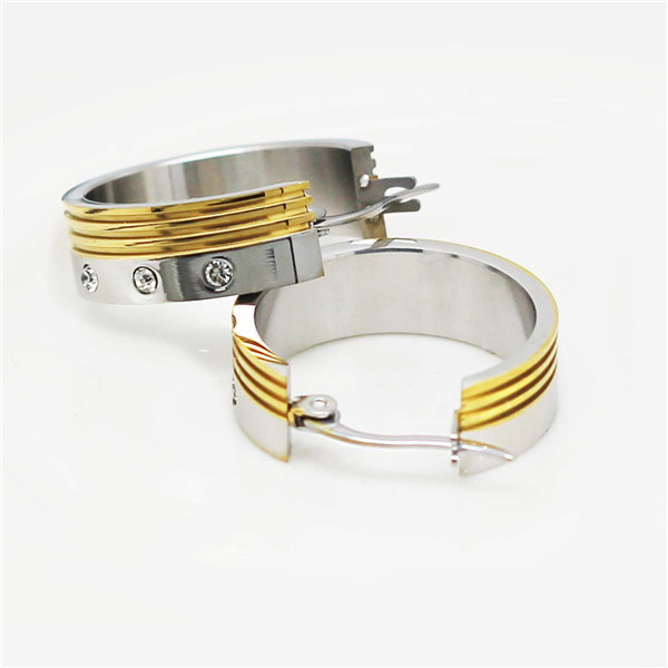 cross carved design men women couple Stainless steel gold hoop