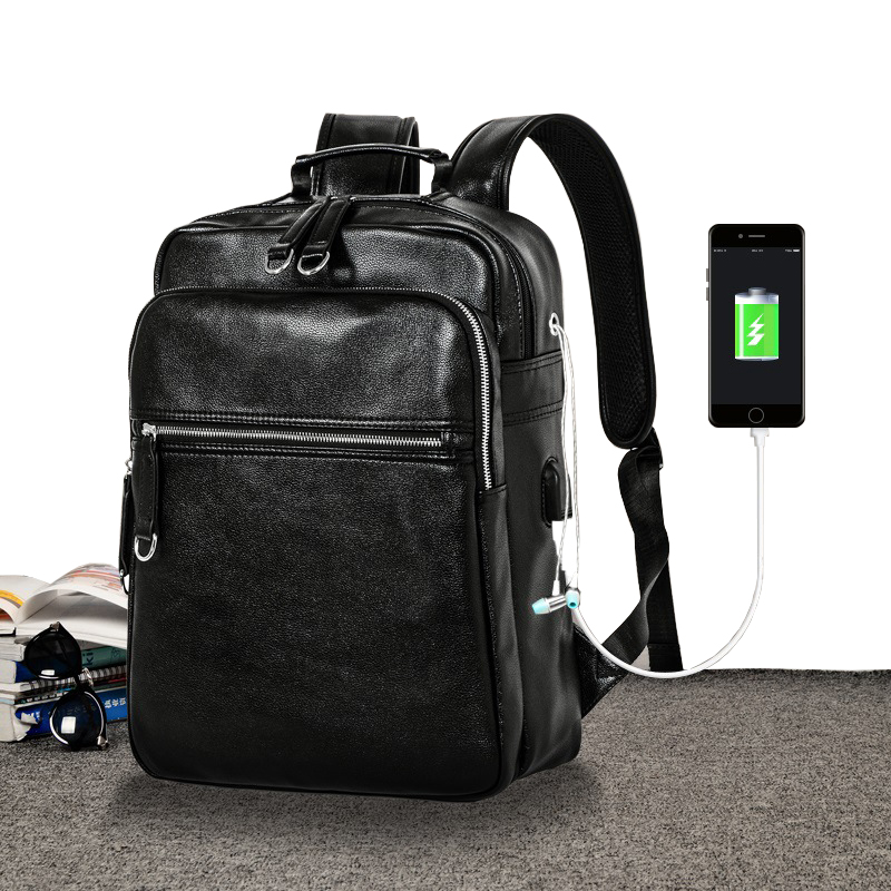 Waterproof 14Inch Laptop Backpack Male School Leather Backpacks for Teenagers Travel Bags Casual Daypacks Mochila Women Backpack