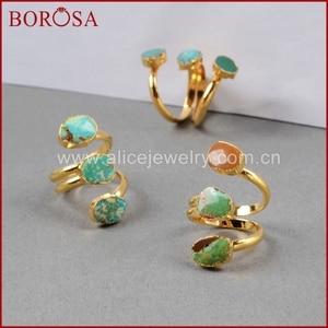Image 4 - BOROSA Böhmen 100% Natürliche Blau Stein Drusy Ringe Vintage Türkisen Verkrustete Ring Gold Überzug Edelsteine Ringe für Frauen Geschenke G0280