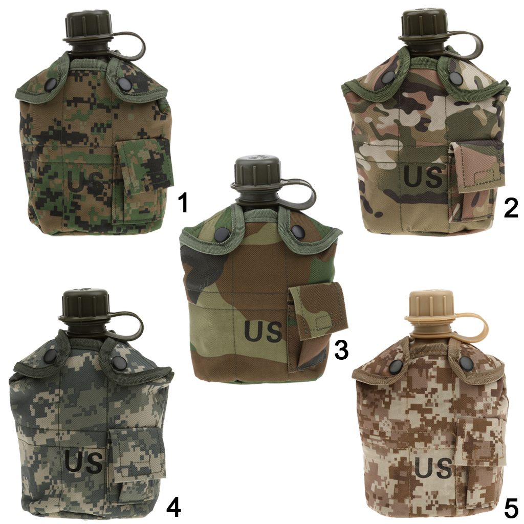 Outdoor 1L Military Camping Army Water Bottle With Pouch Tactical Gear Pouch for Camping Hiking Survival Climbing Accessories