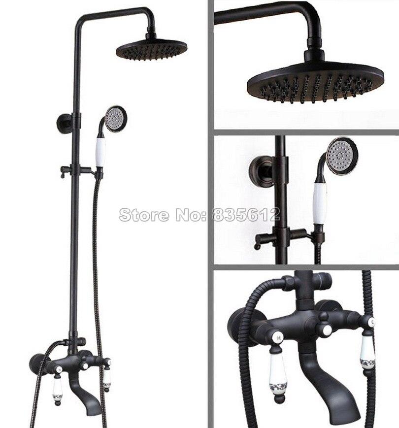 Bathroom Rain Shower Faucet Set Black Oil Rubbed Bronze Wall Mounted Bath Tub Shower Mixer Tap with Handheld Shower Whg126
