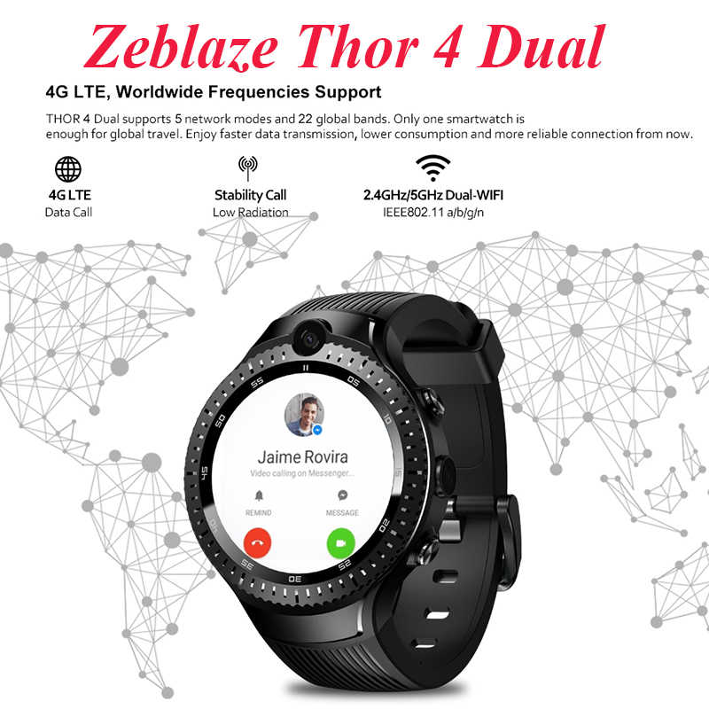 4G Smart watch men Zeblaze Thor 4 Dual 5MP+5MP Double Camera GPS Android  Smartwatch Heart Rate pk thor 4 pro allcall w2 w1 watch