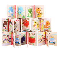Baby Wooden Puzzle Toy For Kids Cartoon Animals Educational Toys Wooden Book Puzzle Montessori Color Shape