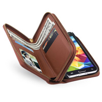 For Samsung Galaxy S5 I9600 Cover S6 G920F Case Retro Leather Case Double Zipper Wallet Card