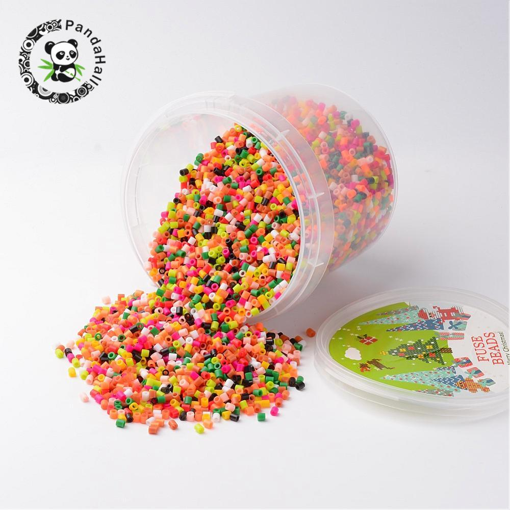 Plastic DIY Fuse Beads Refills, Tube, Mixed Color, 5x5mm, Hole: 3mm; about 6250pcs/box szgaoy diy 2 hole 6 3mm male