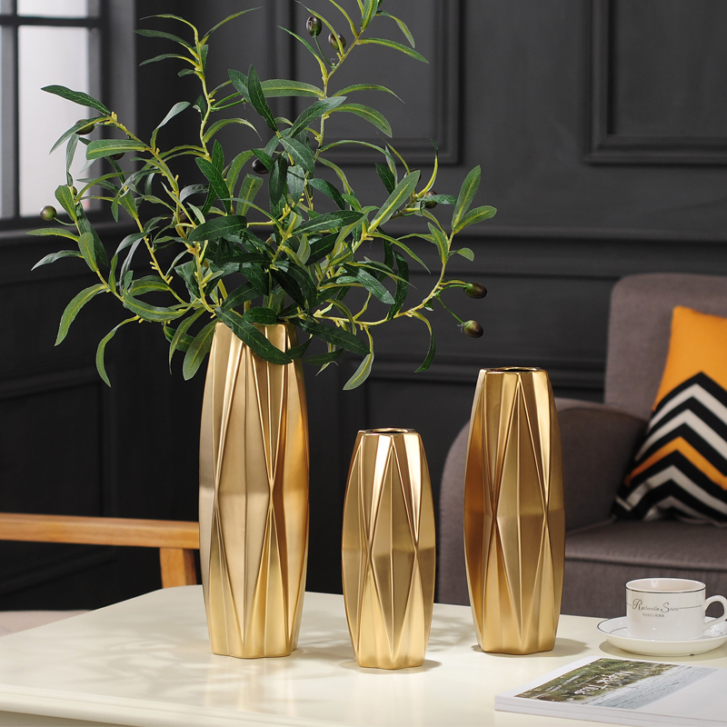 Northern Europe Ceramic vase living room Home Decorations Ornaments European golden flower dried flowers